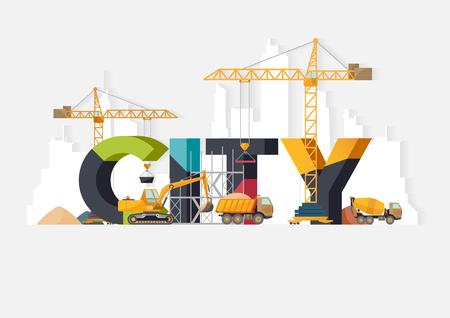 maquinaria: La construcción de la ciudad. Ilustraciones tipográficas. Vectores