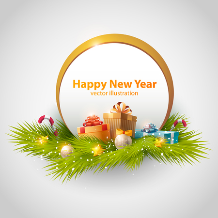 green frame: New Year background with gift boxes.