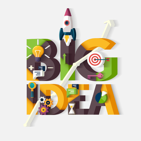 big idea: Big Idea concept. Typographic poster. Illustration