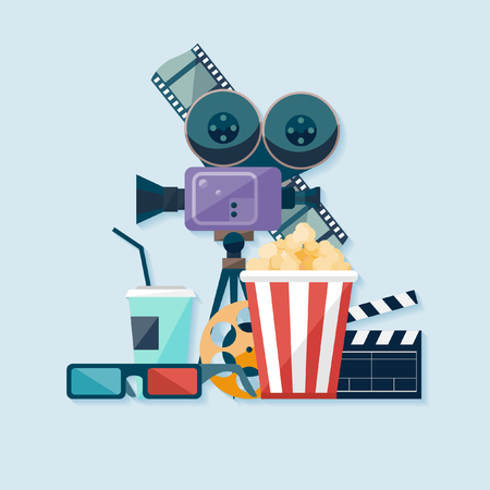 cinema strip: Cinema illustration. Flat design.