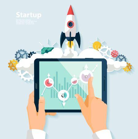 gadget: Startup concept. Flat design.