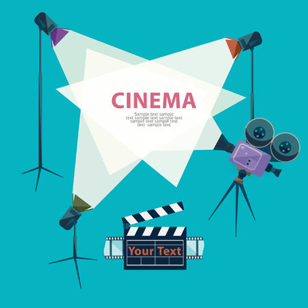 Cinema concept with spotlight and camera Illustration