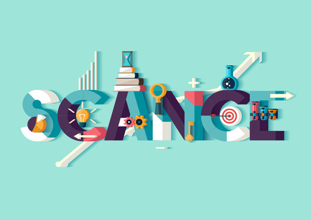 科学概念。活版印刷のポスター。  イラスト・ベクター素材
