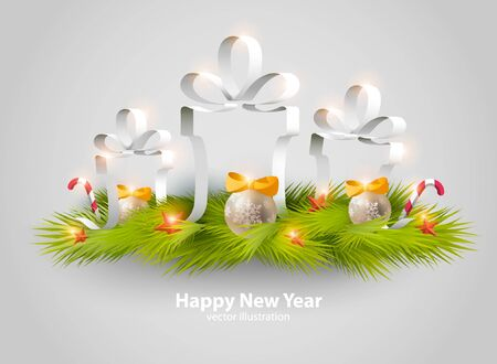 open box: New Year background with gift boxes.