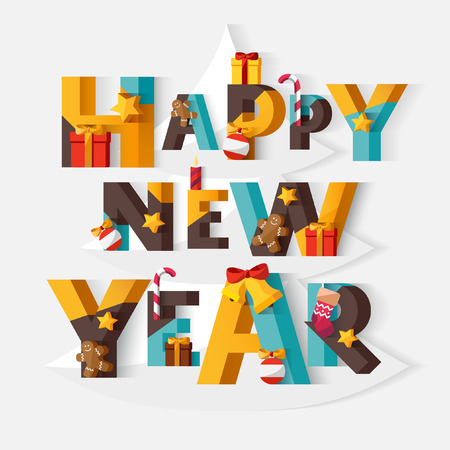 happy new year: Happy New Year typographic poster. Illustration