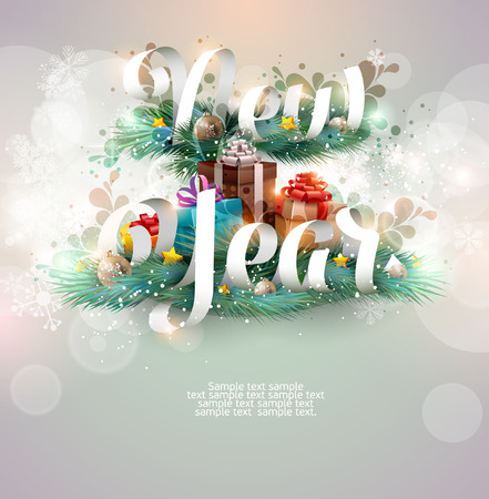 surprise box: New year colorful illustration with space for text