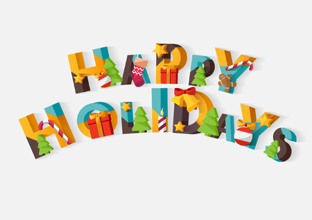Happy Holidays typografische poster. Stock Illustratie