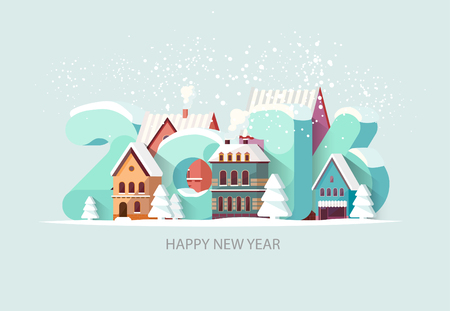 new building: New year 2016. Greeting card.
