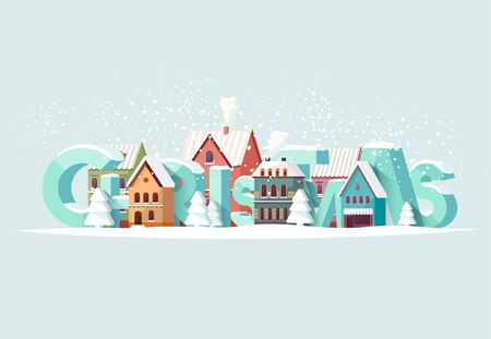 house fly: Christmas and old city. Greeting card.