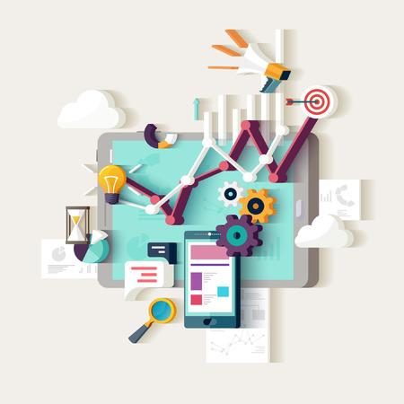 Data-analyse. Platte design. Stockfoto - 50000711