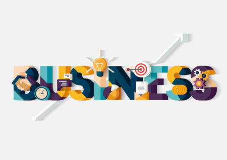 business meeting: Business concept. Typographic poster. Illustration