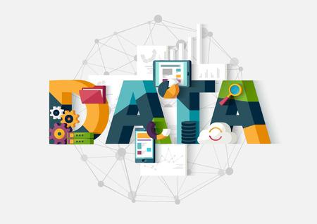database: Data analytics. Flat design.