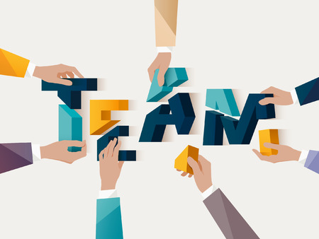 tormenta de ideas: Trabajo en equipo concepto. Cartel tipográfico.