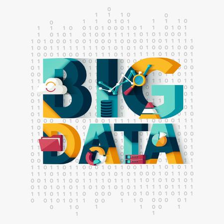 kavram: Büyük veri kavramı. Tipografik posteri. Çizim