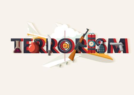 Internationaal terrorisme. Typografische poster. Vector Illustratie