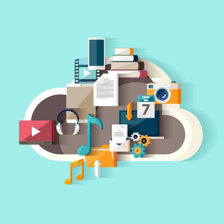 repository: Cloud data storage. Flat design