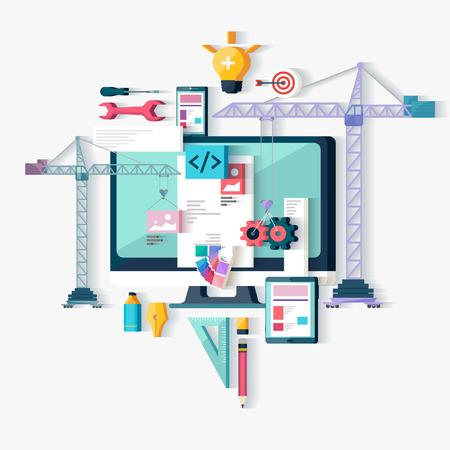 schöpfung: Web-Design und Programmierung. Flaches Design.