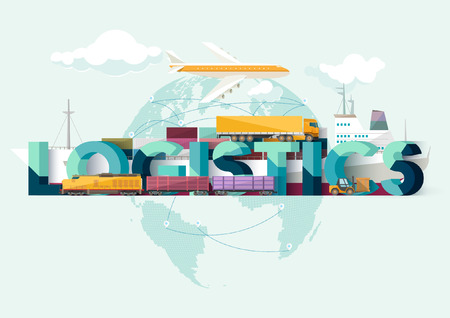 means of transport: logistics concept. Typographic poster.
