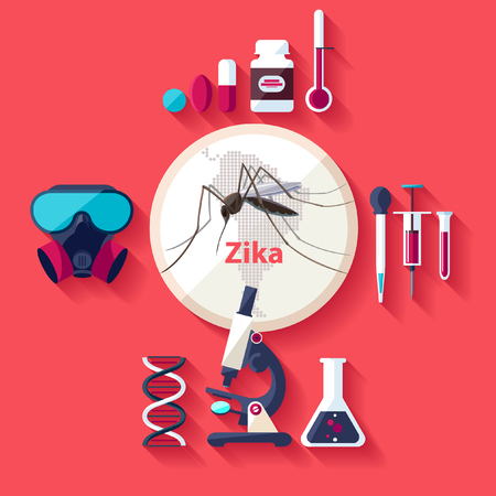 disease carrier: Virus Zika. Flat design.