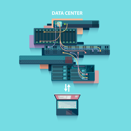 centre: Data center. Flat design. Illustration