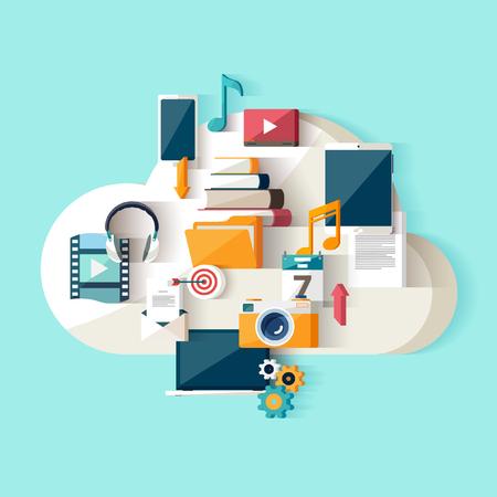 Nube de almacenamiento de datos. Diseño plano. Ilustración de vector