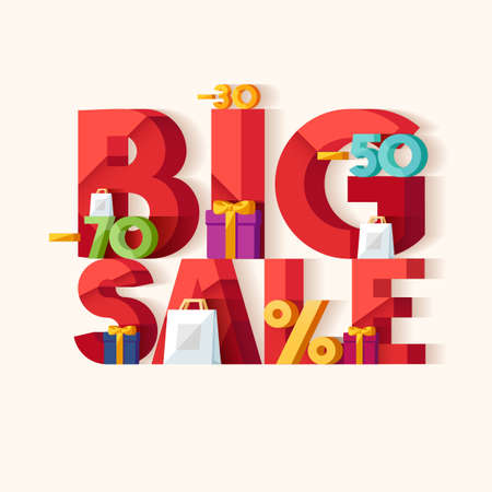 advertisements: Big sale concept. Typographic poster. Illustration