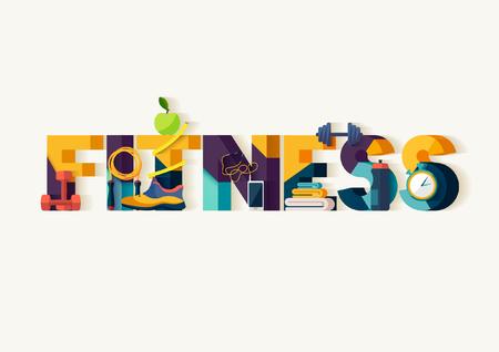 Koncepcja fitness. Typograficzny plakat.
