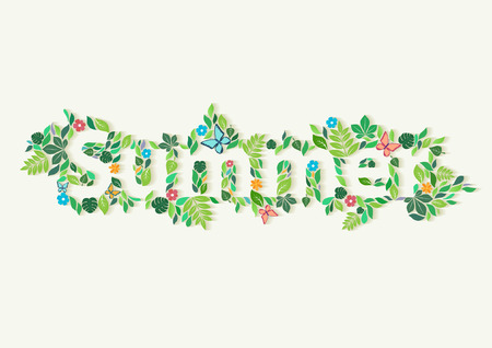 inscription: Summer word. Floral typographic poster.