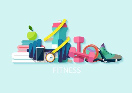 drink tools: Fitness flat concept. Illustration