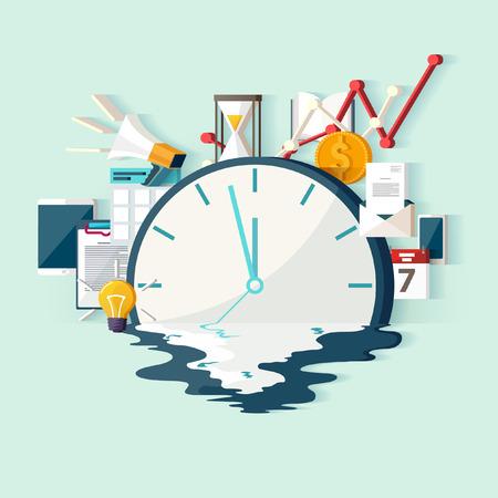 Time concept. Flat design. Illustration
