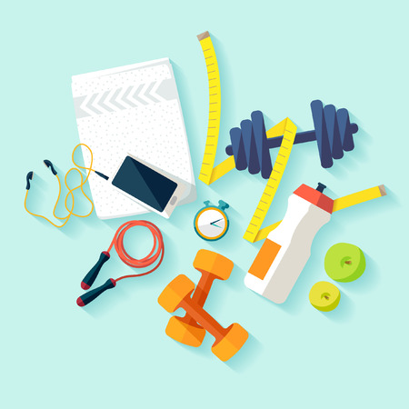 Fitness flat concept. Stock Illustratie