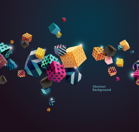 Veelkleurige decoratief blokjes. Abstract vector illustratie.
