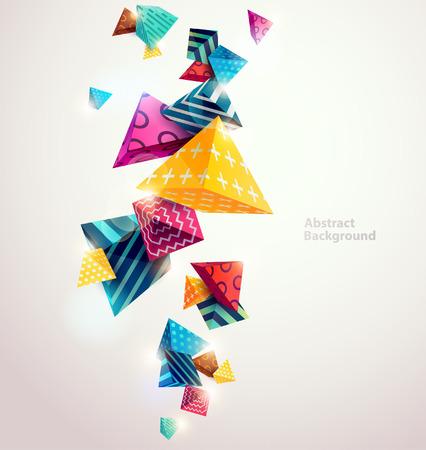 abstrato: Fundo colorido abstrato com elementos geom�tricos Ilustração