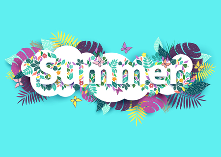 tropical: Floral summer background with white text Illustration