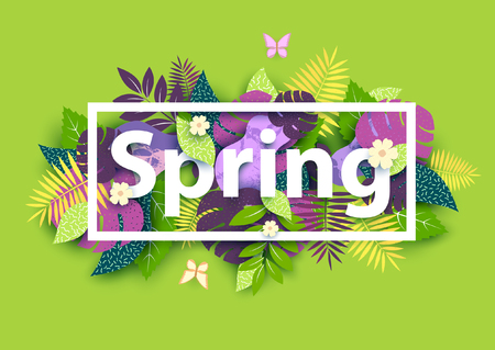 Floral spring background with white text