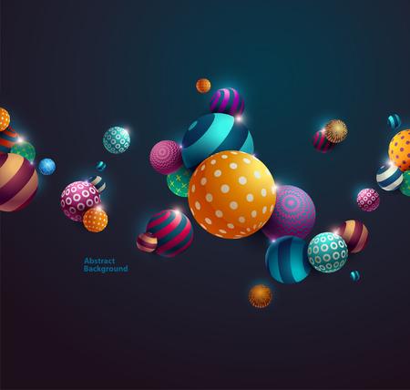 futuristic background: Multicolored decorative balls. Abstract vector illustration. Illustration