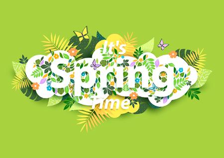 animal print: Fondo floral de la primavera con el texto blanco Vectores