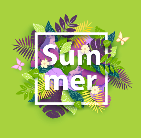 Floral summer background with white text Ilustração