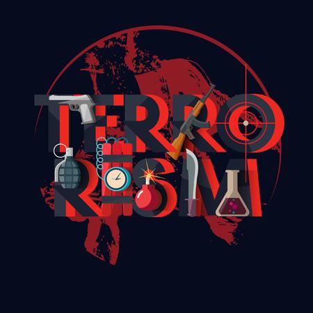 fanatics: International terrorism. Typographic poster.