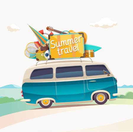 Summer travel illustration with car.