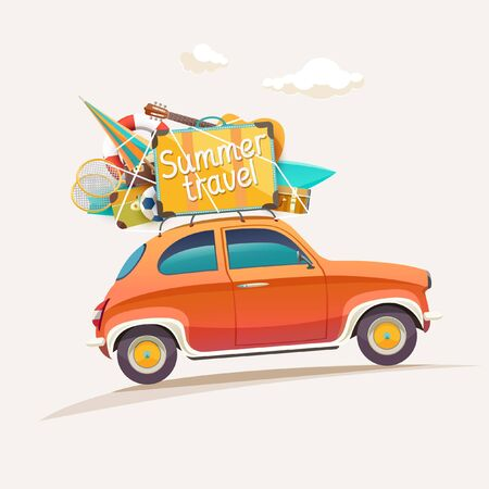 relaxation: Summer travel illustration with lettering. Illustration