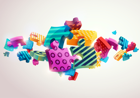 composition: Abstract composition of colored puzzles Illustration