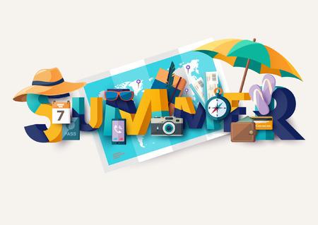 レタリングと夏の休日イラスト。活版印刷のポスター。