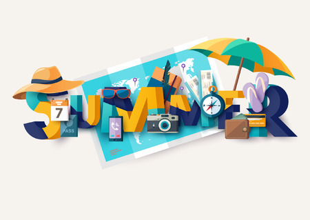 Summer holiday illustration with lettering. Typographic poster.