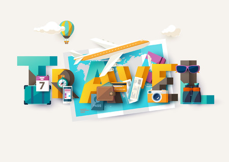 Travel illustration with lettering. Typographic poster.