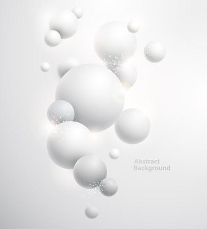 fondo blanco minimalista con bolas 3D. Ilustración de vector