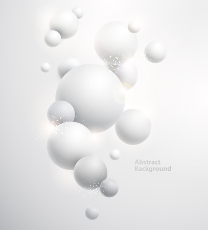sfondo bianco minimalista con le palle 3D. Vettoriali