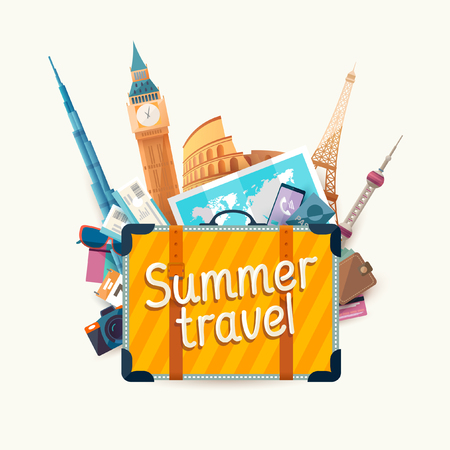 sights: Summer travel illustration with suitcase and architectural sights