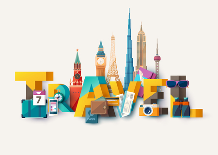 Travel illustration with lettering and and architectural sights.