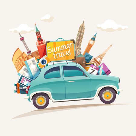 Summer travel illustration with retro car and architectural sights